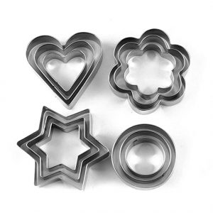 12-piece baking set Heart-shaped star-shaped round plum-shaped stainless steel cookie mould