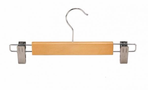2 Piece Set Natural Wood Pants Skirt Hanger with Clips